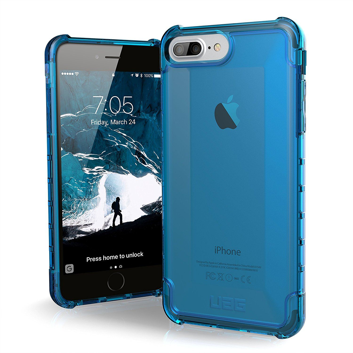 10dde3bb86495 UAG iPhone 8 Plus   iPhone 7 Plus   iPhone 6s Plus  5.5-inch screen  Plyo  Feather-Light Rugged  GLACIER  Military Drop Tested iPhone Case