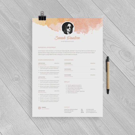 Creative Resume Template Instant Download  Cover Letter  Format