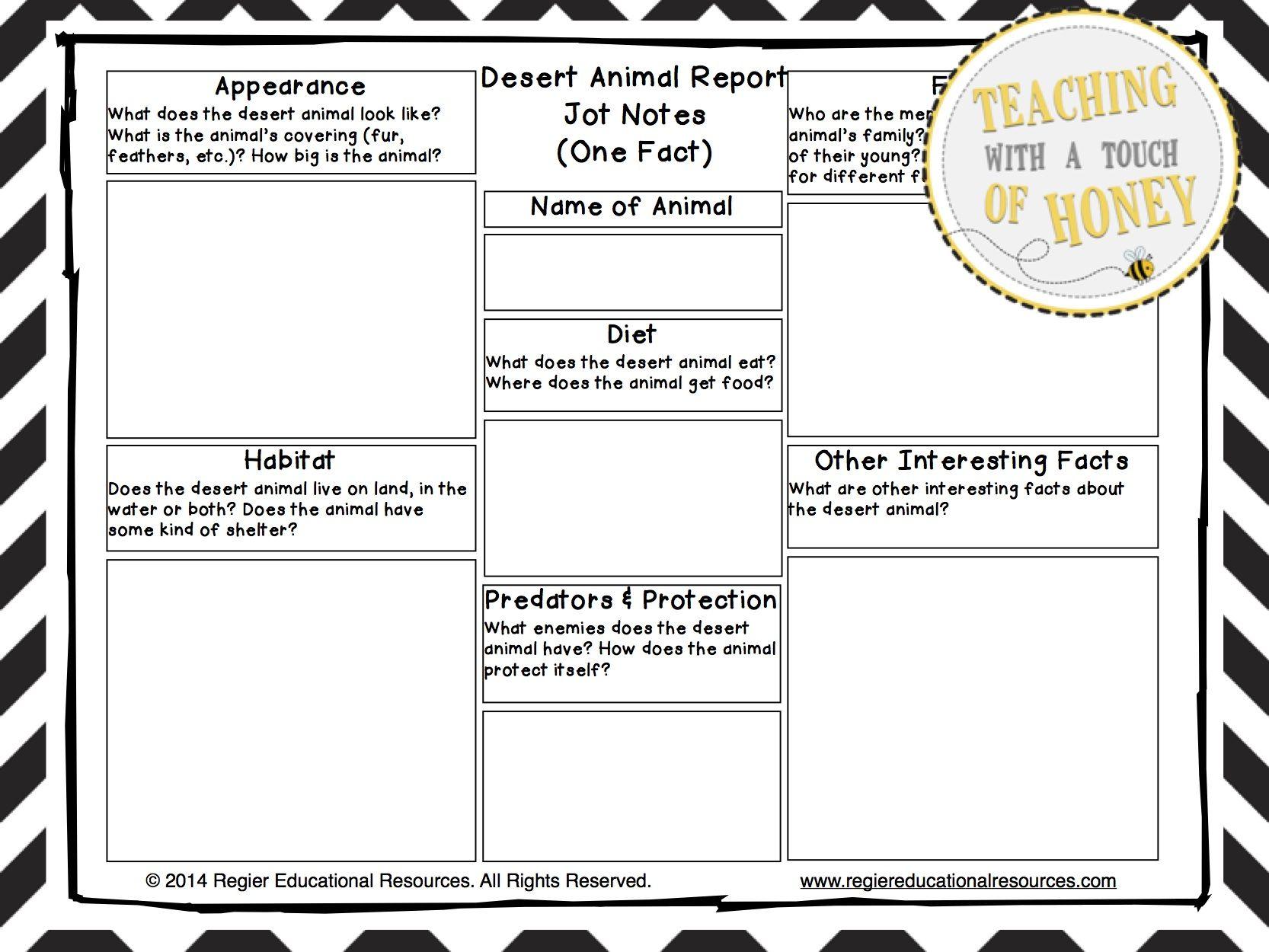 Desert Animal Report Tiered Report Writing Templates – Templates for Report Writing
