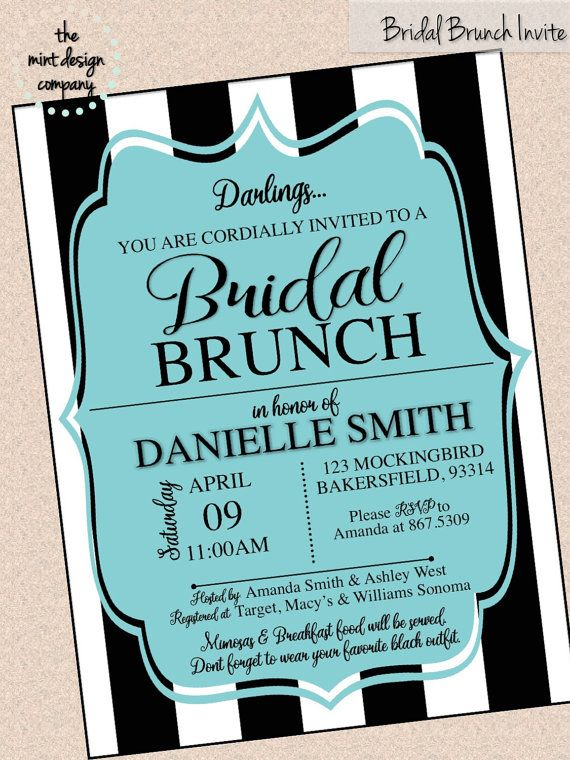 breakfast at tiffanys inspired black white teal shower invitation by the mint design company