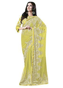 Pear Green Net N Satin Embroidered Saree