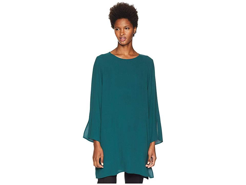 faa321b89a429b Eileen Fisher Silk Georgette Crepe Round Neck Tunic with Side Slits (Pine)  Women s Clothing. An elongated EILEEN FISHER tunic that s perfect for any  day of ...