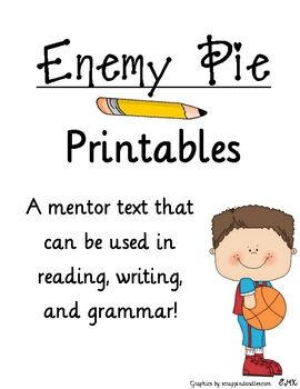 enemy pie writing activities