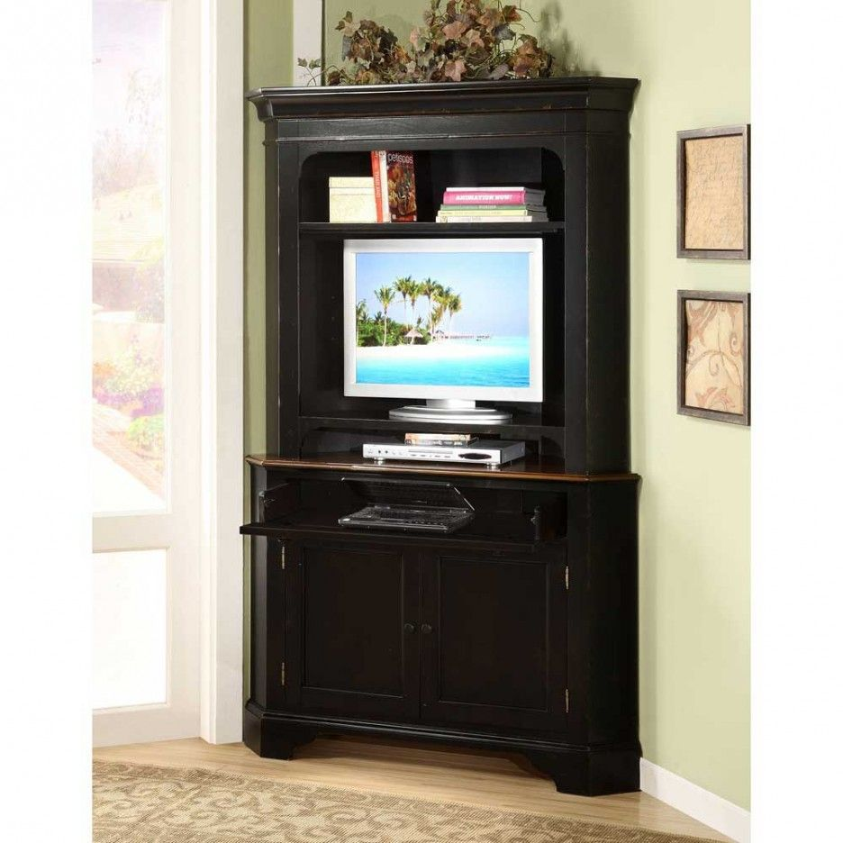 Riverside Crossroads Corner Laptop Computer Cabinet With Optional Hutch Black Traditional Bookcases Cabinets And Armoires By Hayneedle