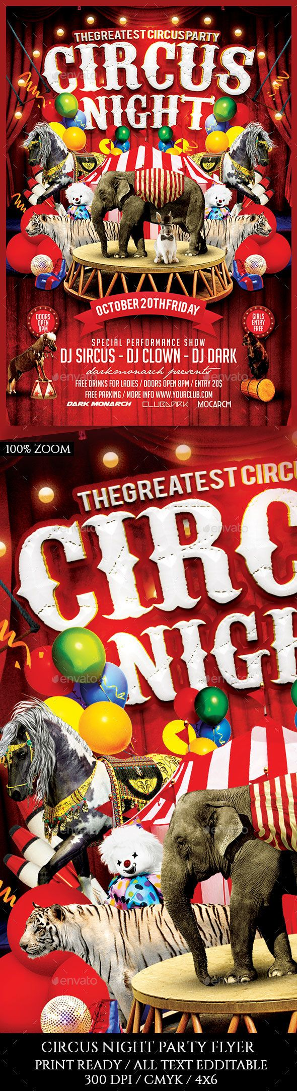 circus night flyer psd templates flyer template and edit text