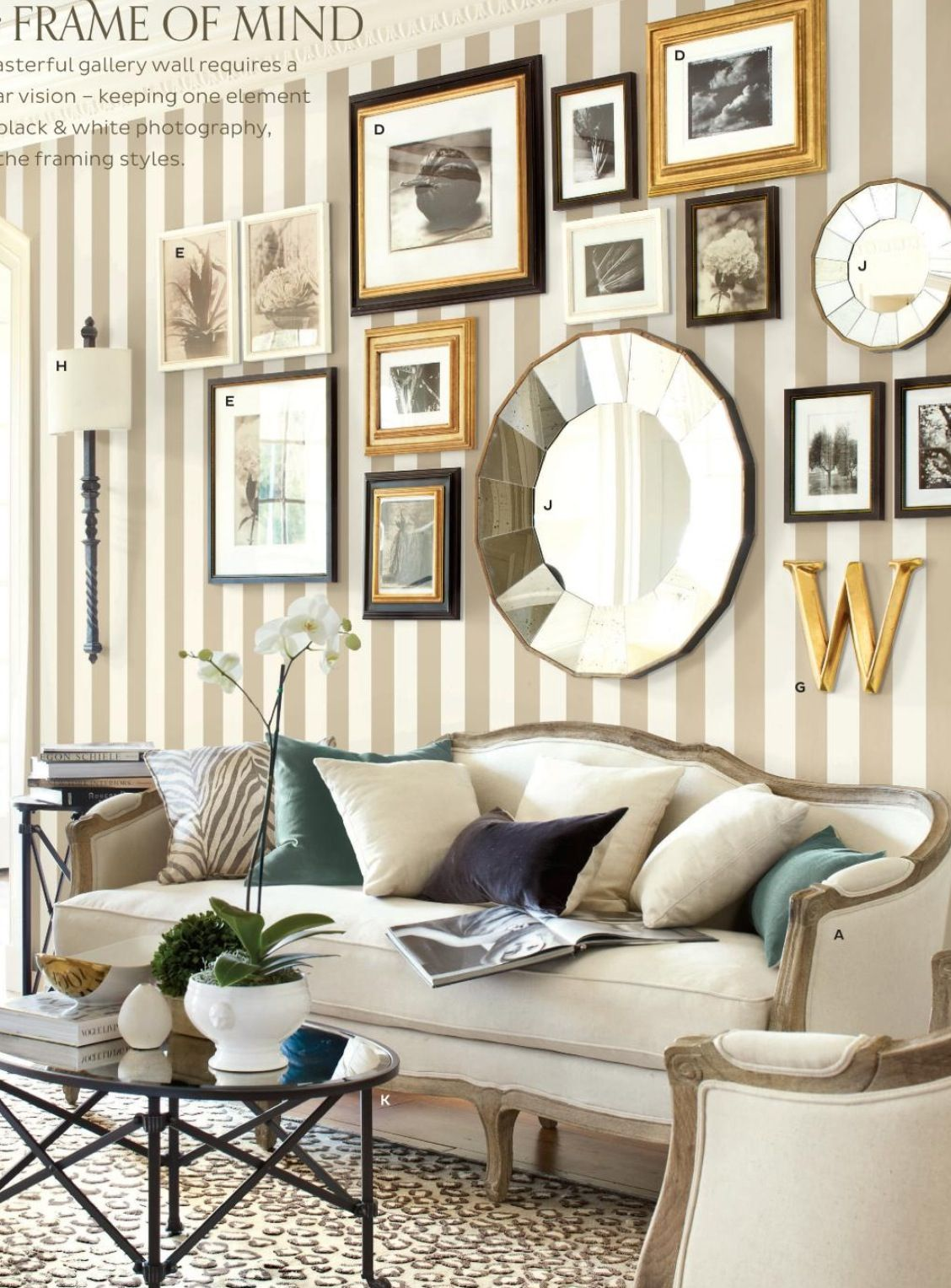 Black And Gold Frames Mixed Frame Styles Striped Wallpaper