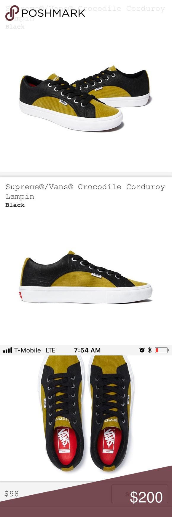 e9eaa1296c Supreme X Vans Crocodile Corduroy Lampin Sneakers New With Box Deadstock.  Supreme   Vans Collaboration. Supreme X Vans Crocodile Corduroy Black    Green ...