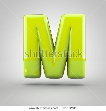 Glossy Lime Paint Letter M Uppercase 3d Render Of Bubble Font With