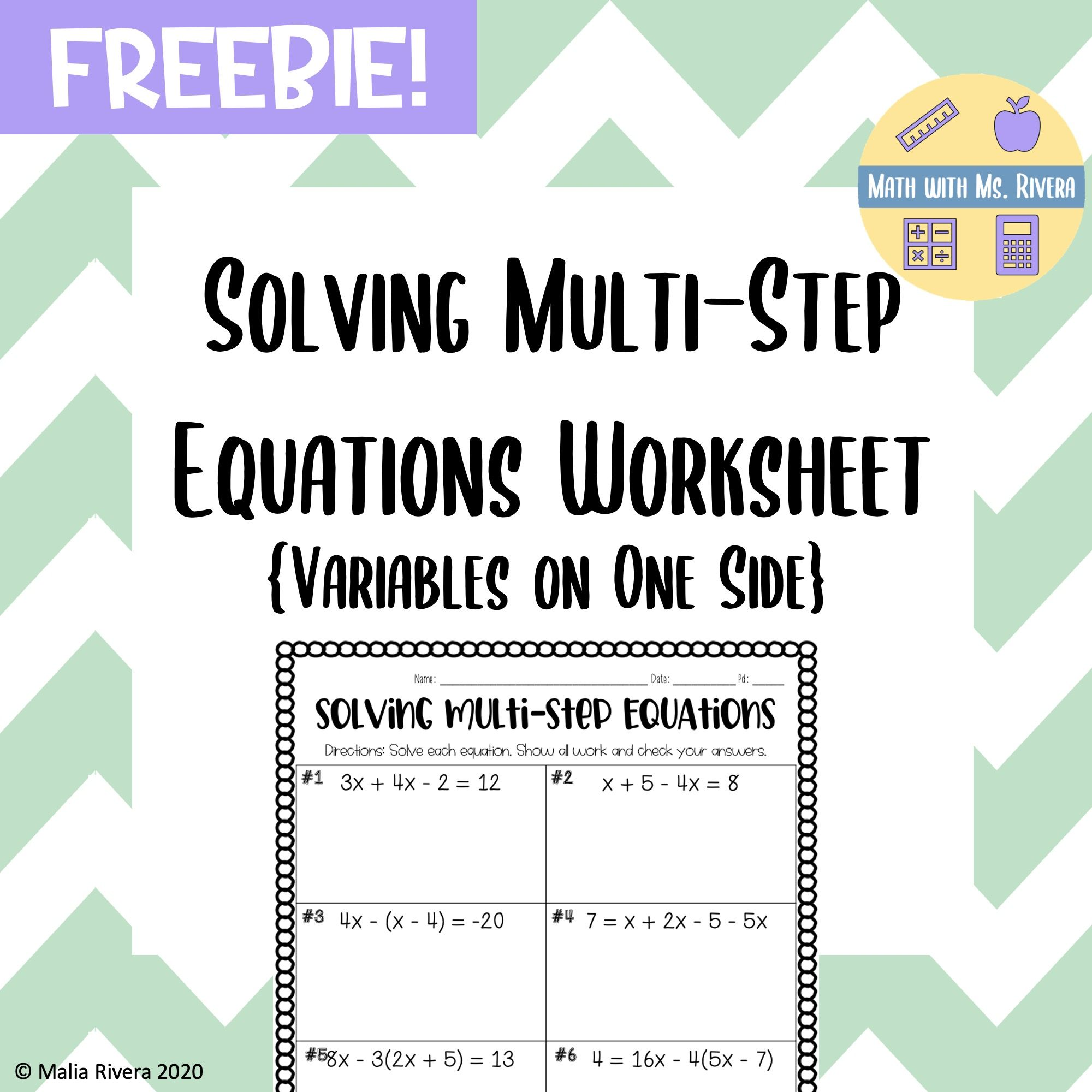 Solving Multi Step Equations Worksheet Variables On One Side Freebie In 2020 Multi Step Equations Worksheets Multi Step Equations Solving Multi Step Equations