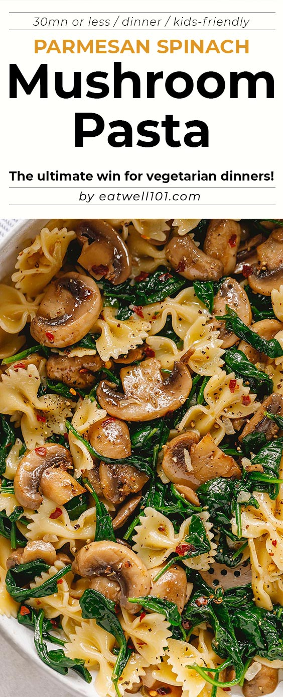 Photo of Parmesan Spinach Mushroom Pasta Skillet