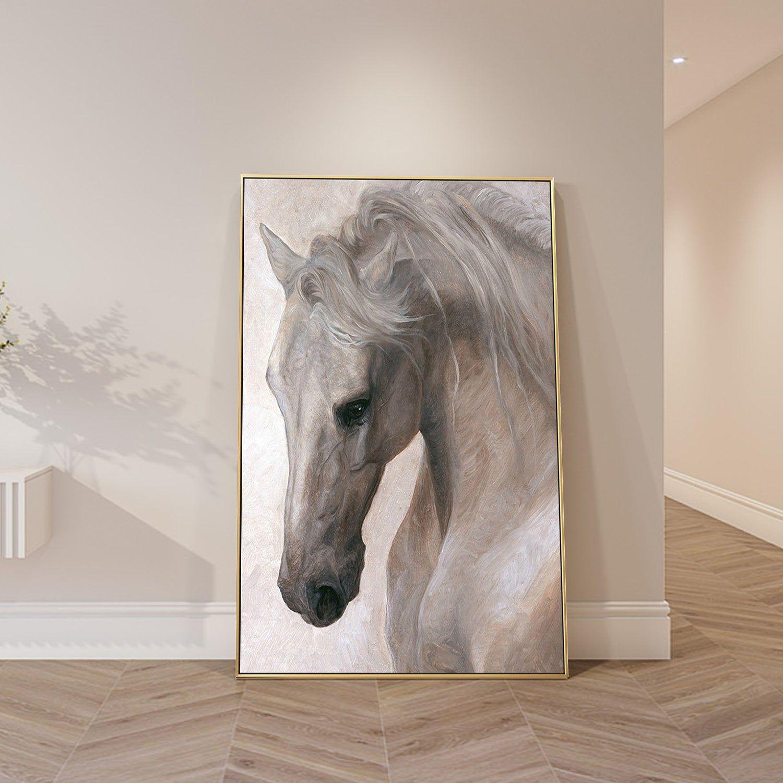 Home Decor Poster Wall Art White Horse Art//Canvas Print