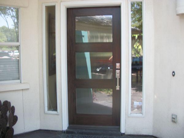 Modern Wood Door: Mahogany 3 Lite Entry Door With Fluted Glass