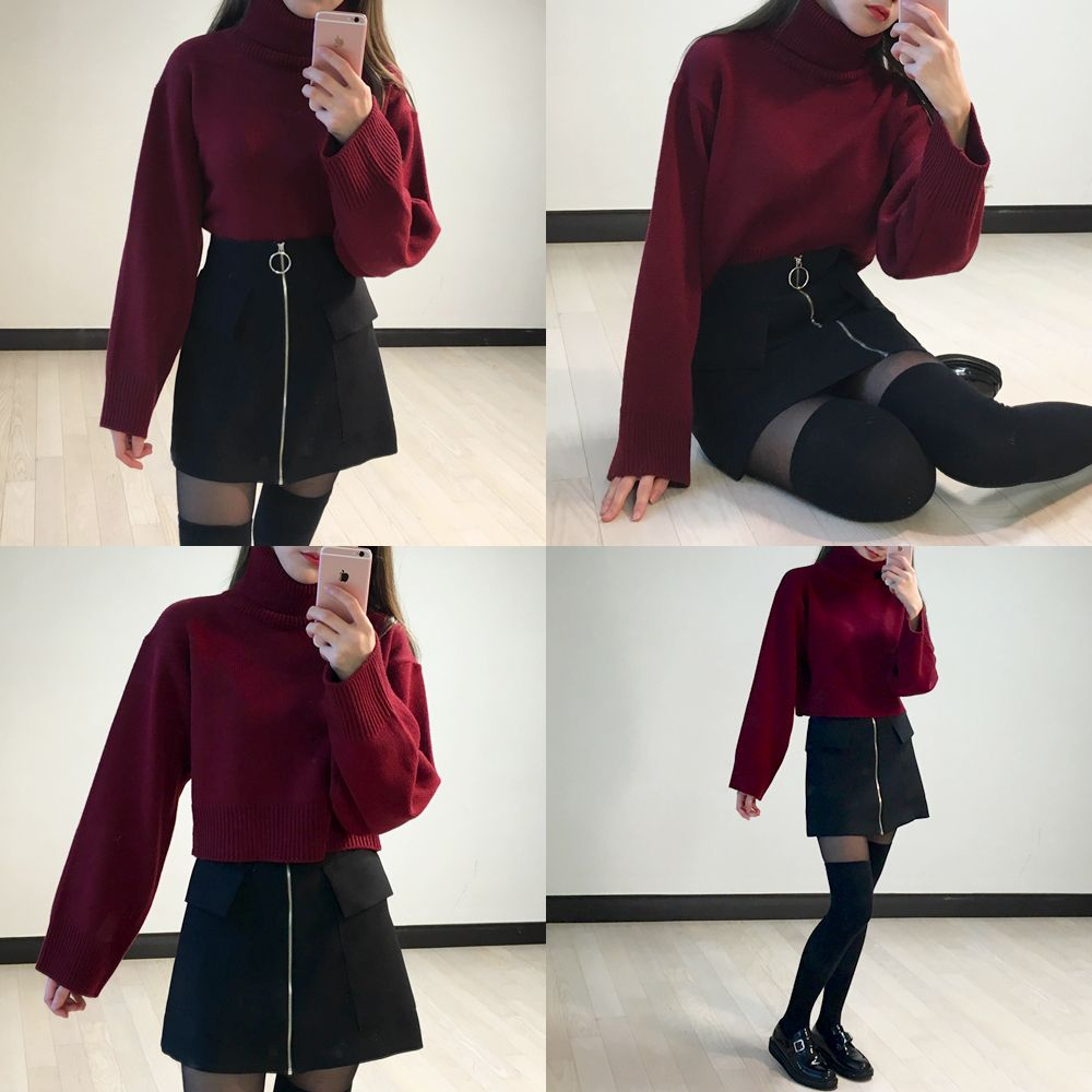 Cropped Turtleneck Knit Sweater | mixxmix | Shop Korean fashion casual style clothing, bag, shoes, acc and jewelry for all