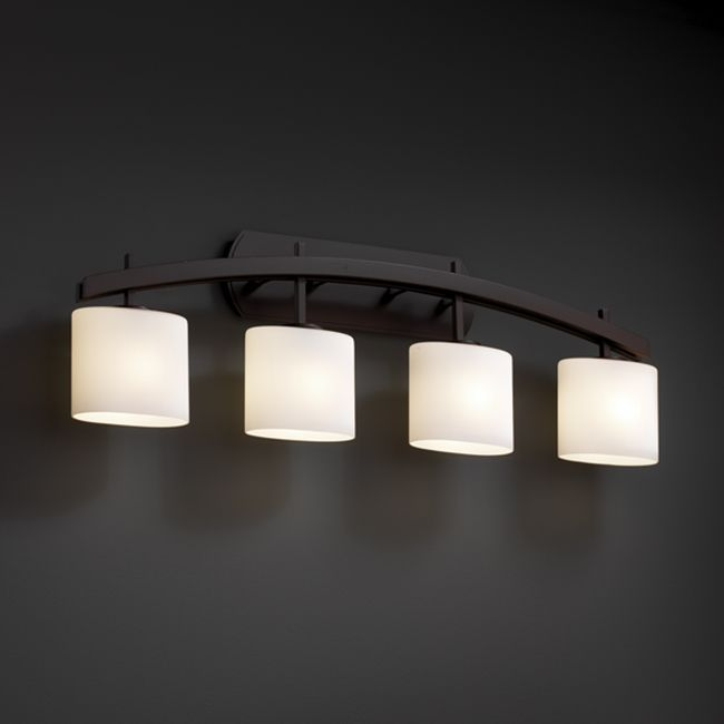 Contemporary Bathroom Downlight justice design group 4-light arched oval opal dark bronze bath bar