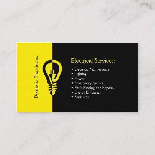 Domestic Electricians Business Card Zazzle Com Visiting Cards Business Cards Layout Visiting Card Design