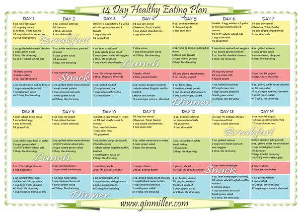 daily meal chart for weight loss