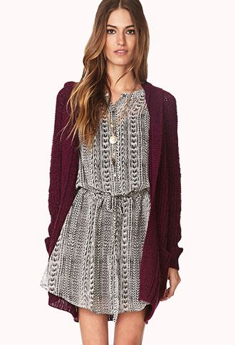 Cozy Hooded Open-Knit Cardigan | FOREVER 21 - 2000066404#Forever ...