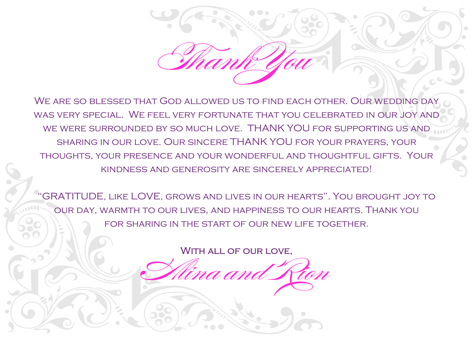 Wedding Thank You Notes Wording Wedding Wedding Ideas Thank