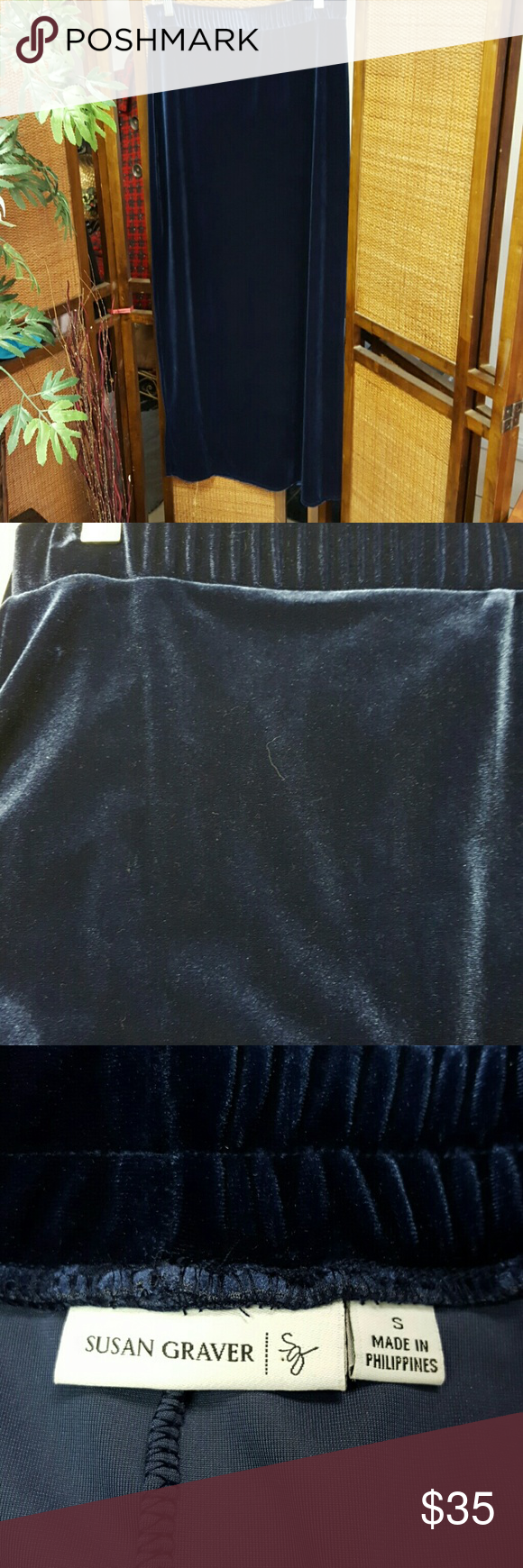Susan Graver Blue crushed velvet skirt. Long. Great condition Susan Graver Skirts Maxi