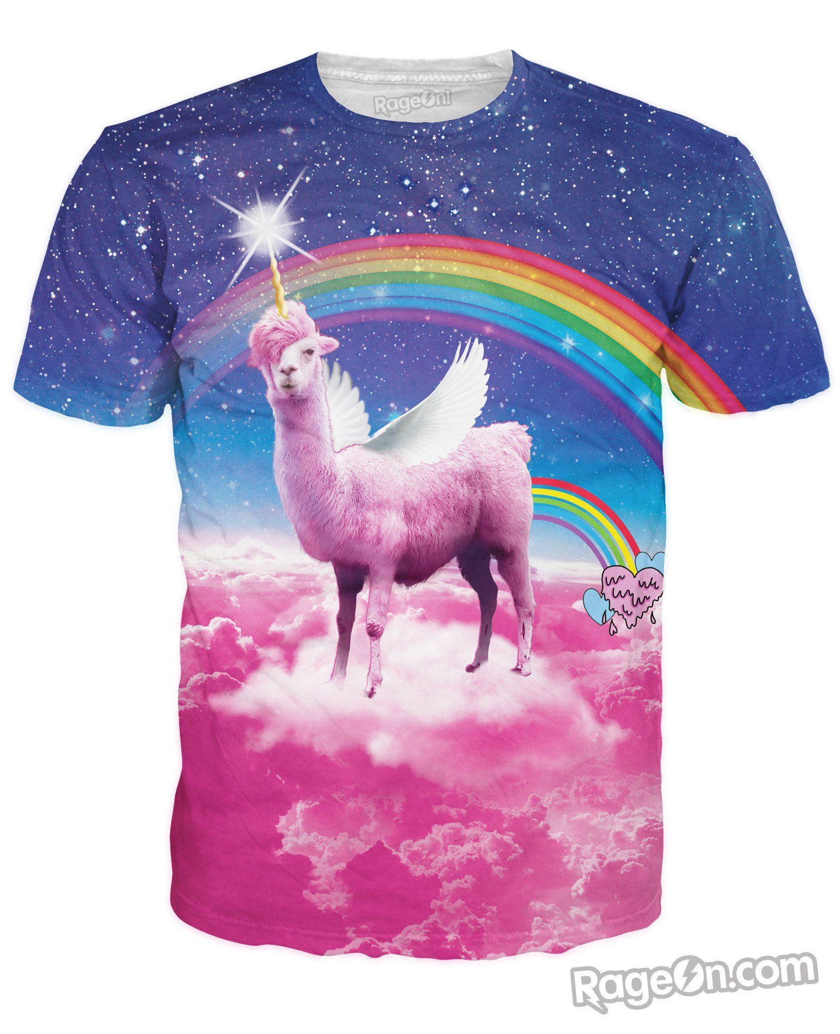 f2e3a79c Llamacorn Pegasus Llama Unicorn Mashup with Wings All Over Print Tee Shirt T -Shirt Farting