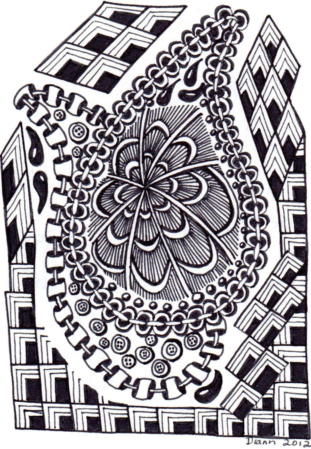 Cornered by Diann 2012. Pinned from her folder, visit for more Zentangles http://pinterest.com/dian0913/zentangle-inspired-my-art/
