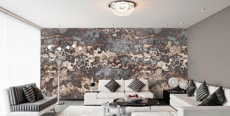 AuBergewohnlich Tapeten Wohnzimmer Modern Grau