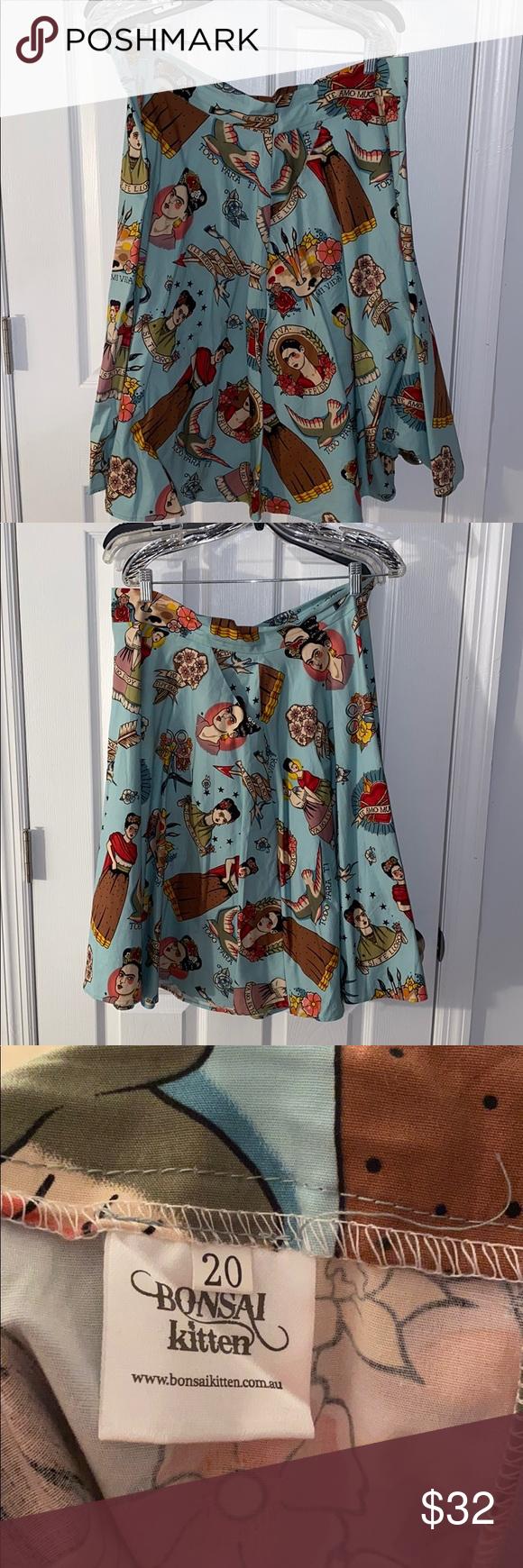 Bonsai Kitten Frida Swing Skirt Swing Skirt Printed Skirts Vintage Skirt