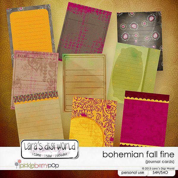 Bohemian Fall fine journal cards by Lara´s Digi World