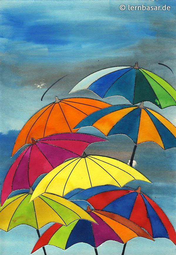 Arbeitsblatt Kunst Klasse 1 : Schmuddelwetter farbenfrohe regenschirmparade ősz