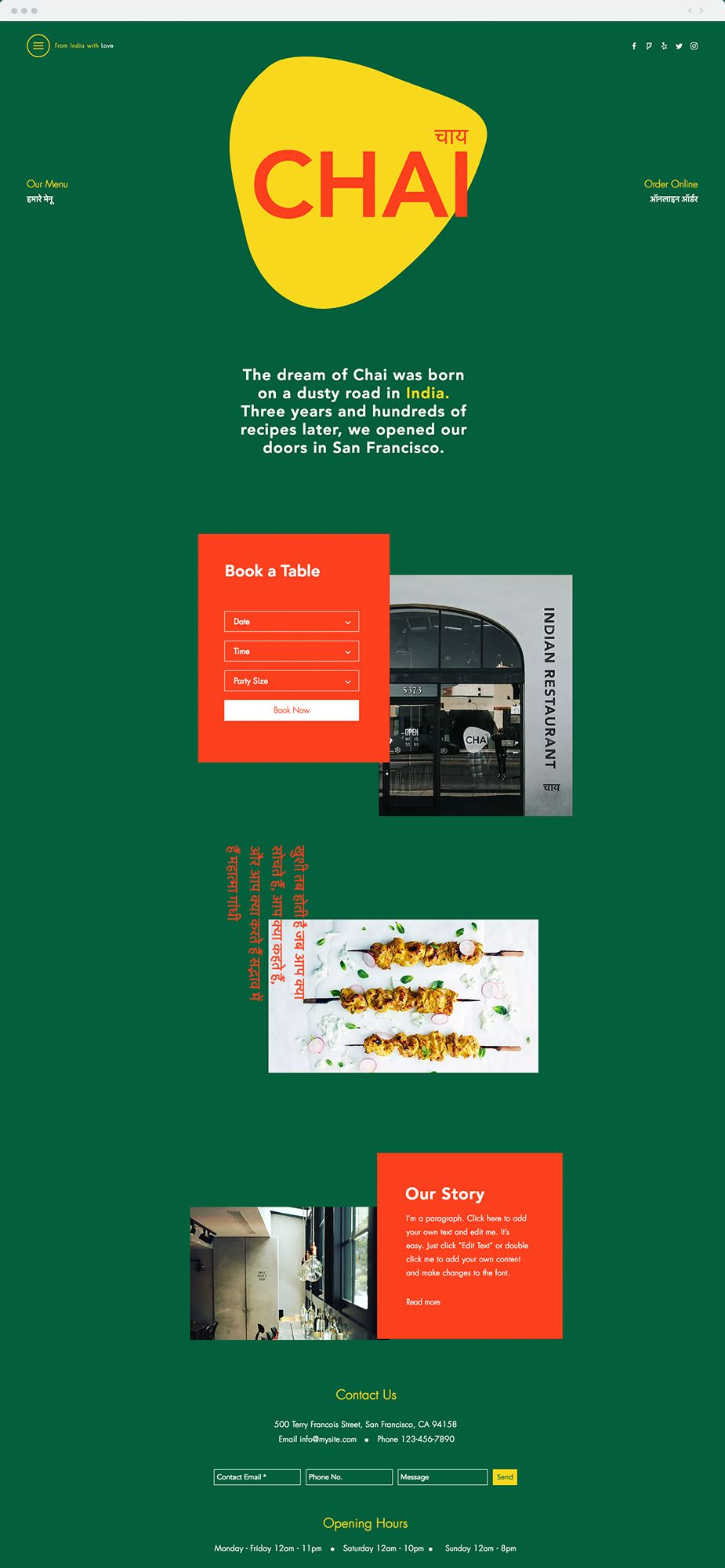 Indian Restaurant Website Template | This bright and fun template ...