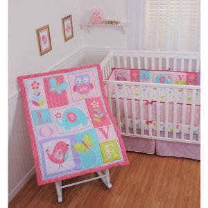Sumersault Ellie Love 4 Piece Crib Bedding Set Baby Girl
