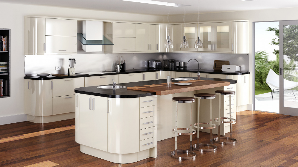 Mattonella Gloss Stone Curved kitchen, Kitchen fittings