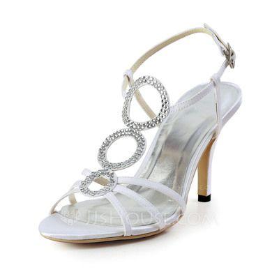 Zapatos de novia - $62.99 - De mujer satén sedoso Tacón en Cono Sandalias Solo correa con Diamantes de imitación (047027252) http://jjshouse.com/es/De-Mujer-Saten-Sedoso-Tacon-En-Cono-Sandalias-Solo-Correa-Con-Diamantes-De-Imitacion-047027252-g27252