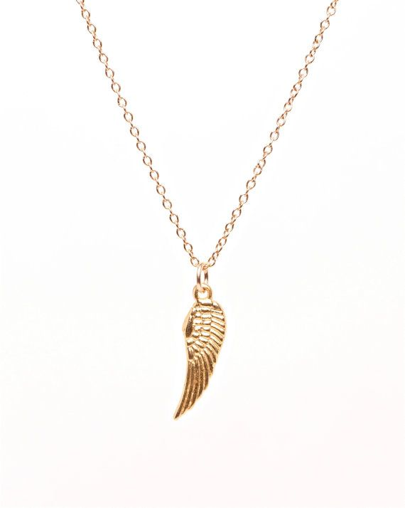 Tiny Gold Wing Necklace Angel Wing Necklace Guardian Angel Etsy In 2021 Wing Necklace Necklace Beautiful Necklaces
