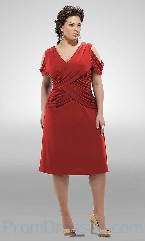 Red Elastic Satin Off Shoulder Knee Length Inexpensive Plus Size