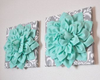 "Aqua Wall Decor mint green dahlia on gray and white damask 12 x12"" canvas wall art"