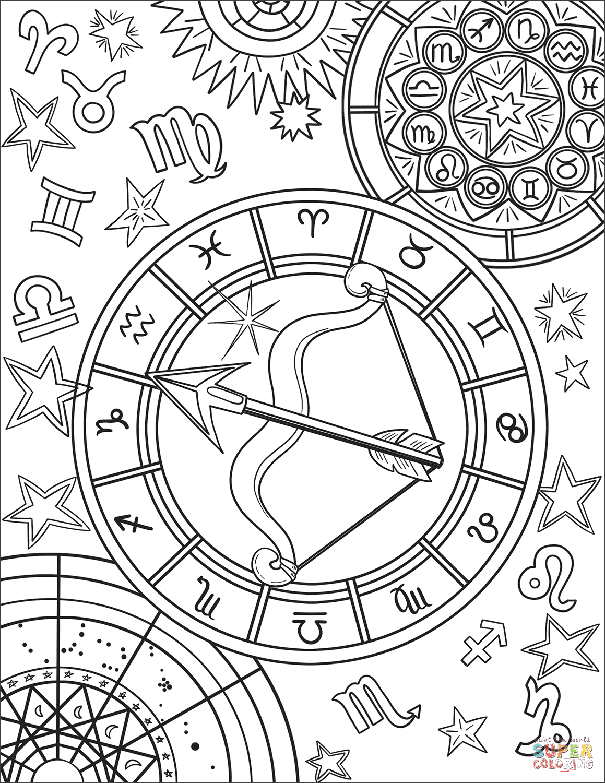 Sagittarius Zodiac Sign Coloring Page Free Printable Coloring Pages Printable Coloring Pages Free Printable Coloring Pages Zodiac Signs Colors