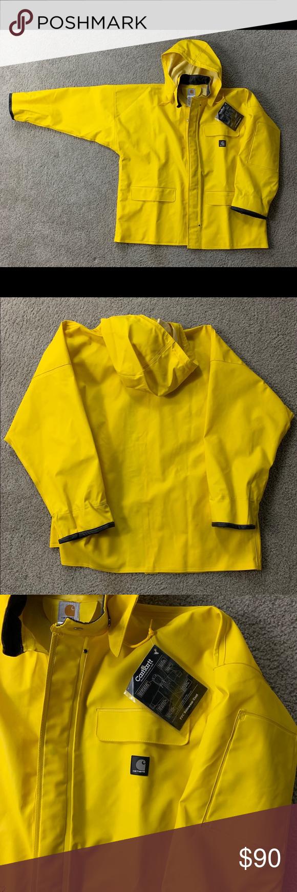 9583f62a3 Carhartt C64 YLW Yellow PVC Raincoat Jacket Sz L Carhartt C64 YLW Yellow  PVC Raincoat Jacket