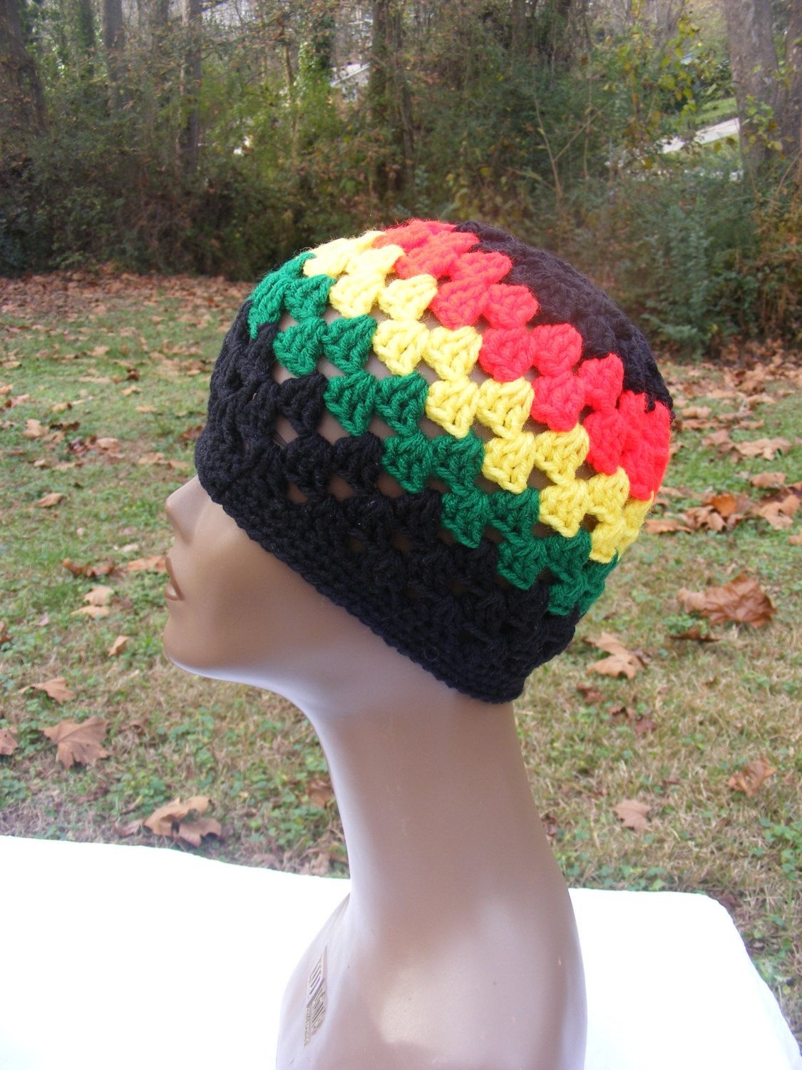 Crochet African Beanie, Rasta Beanie READY TO SHIP
