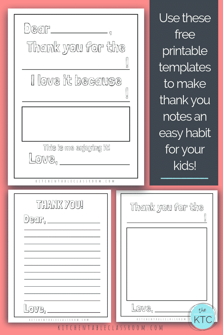 Printable Thank You Cards For Kids The Kitchen Table Classroom Printable Thank You Cards Letter Template For Kids Printable Note Cards