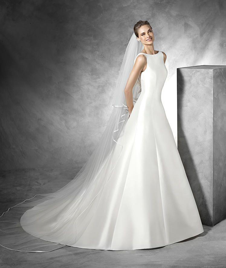 tona - vestido de novia sencillo con escote barco