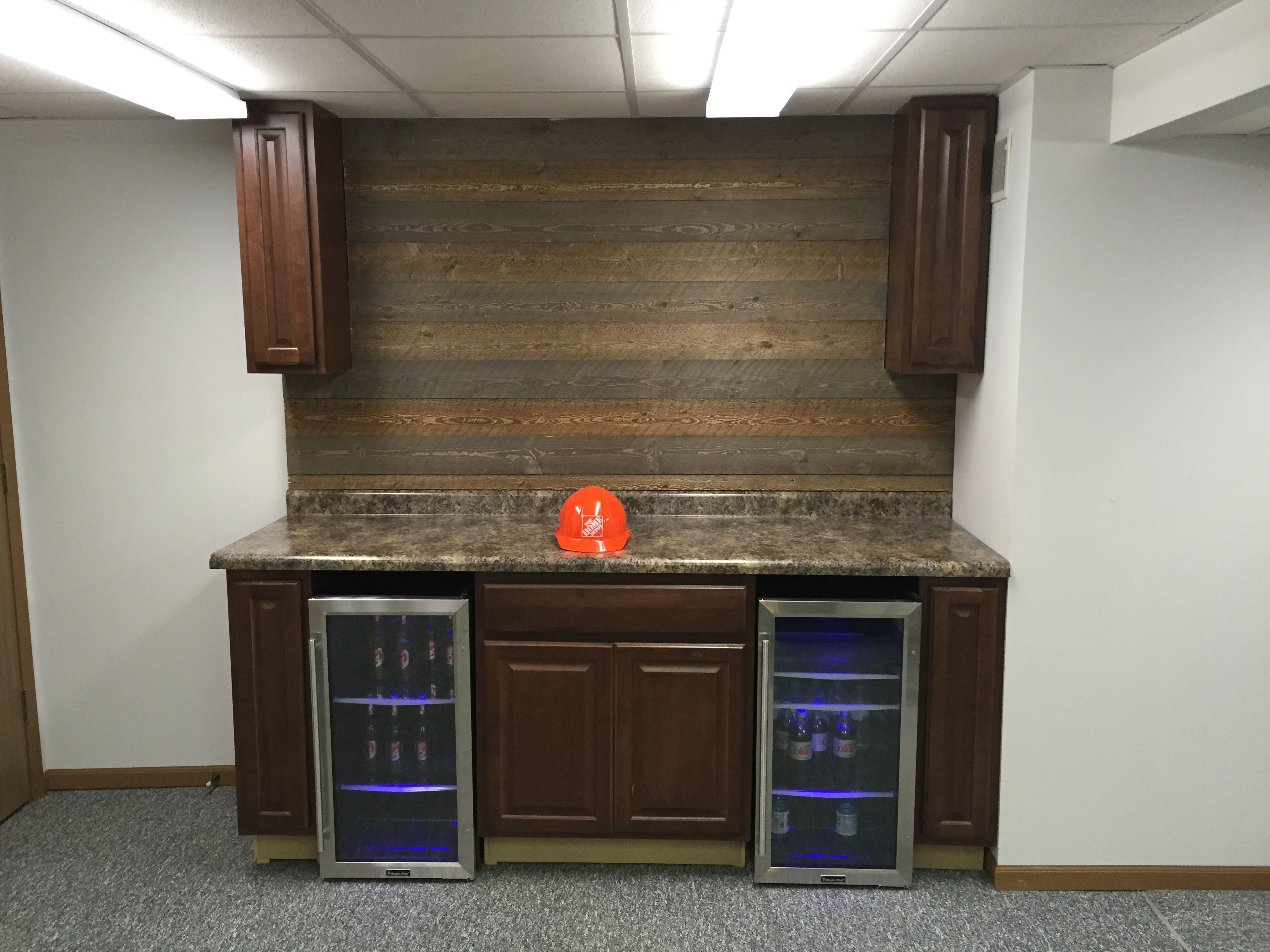 Ghost Wood Cognac Cabinets Led Mini Fridges From The Home Depot