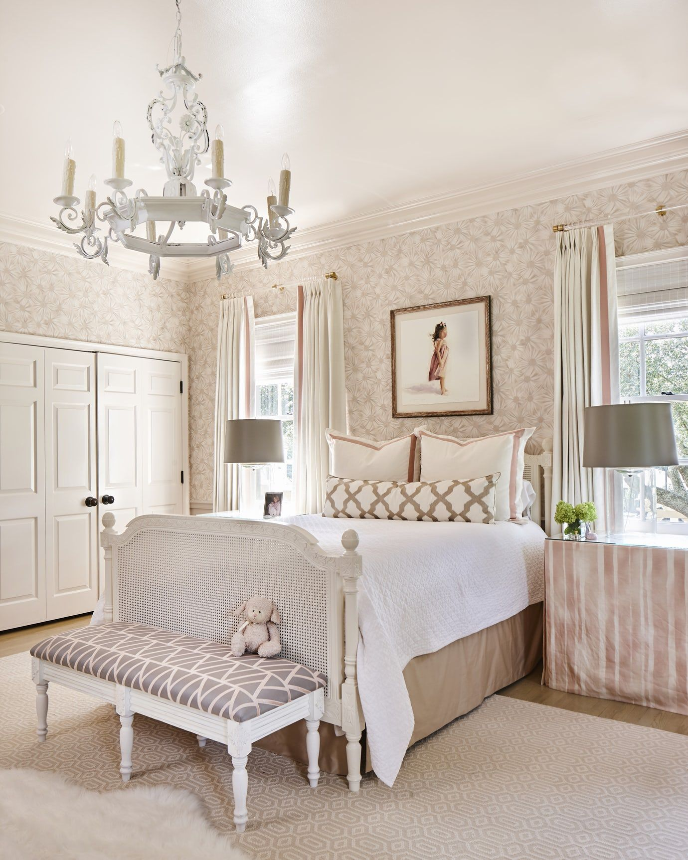 girls room pink wallpaper southern Bedroom Kids Victorian by ...