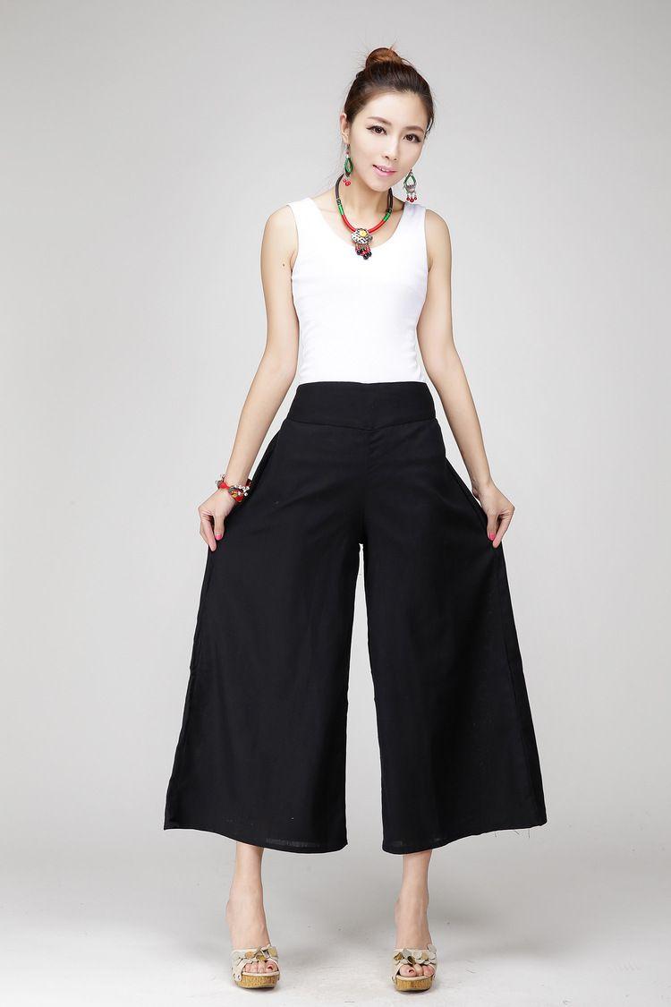 anchos la de pantalones m de lino Pantalones blanca pierna mujer de algodoacuten 1BdnwEqx