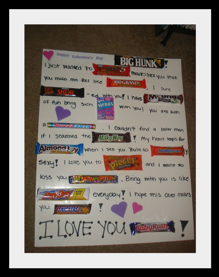 Candy Bar Poster Ideas with Clever Sayings – Candy Valentine Card