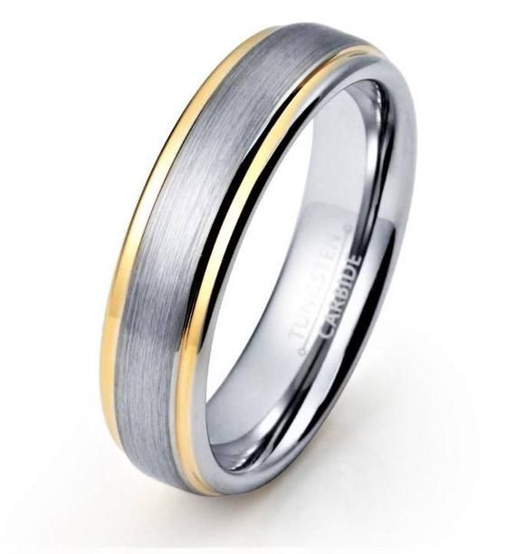 c6706cb87c7e61 Tungsten Ring Brushed Wedding Band Ring Tungsten Carbide 6mm 18k Tungsten  Ring Female Mens Wedding B