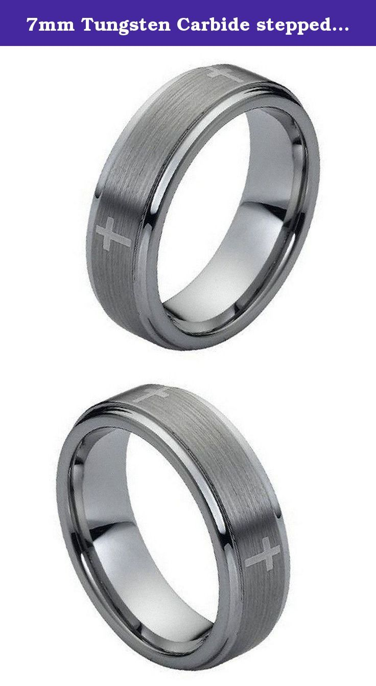 7mm Tungsten Carbide stepped edge brushed center with Cross Wedding Band Ring For Men or Ladies. This ring is Hypoallergenic and Comfort fit. Tungsten Carbide is a highly scratch resistant material that will stay polished forever. Tungsten Carbide is ranked second hardest next to diamond on the Mohs scale, diamond being a 10 followed by Tungsten Carbide as 9.Please note that, because of the nature of the material, tungsten rings can only be engraved by laser. All of our Tungsten rings are...