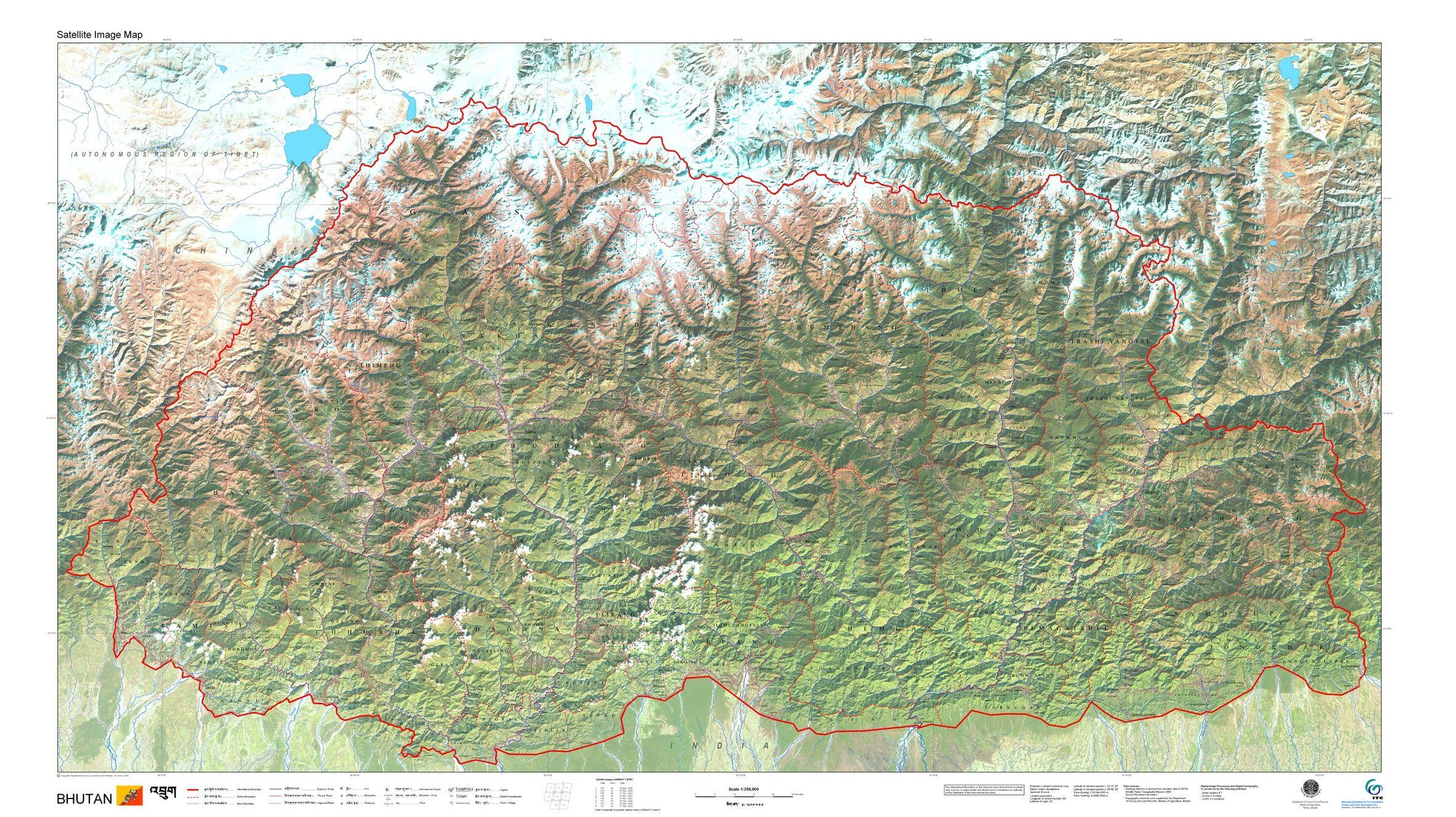 Satellite image map of Bhutan, by Geomapa #map #bhutan | Cartography ...