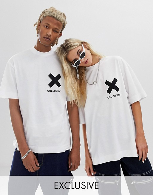 sells affordable price thoughts on COLLUSION Unisex logo t-shirt in white | ASOS | Clothes I ...