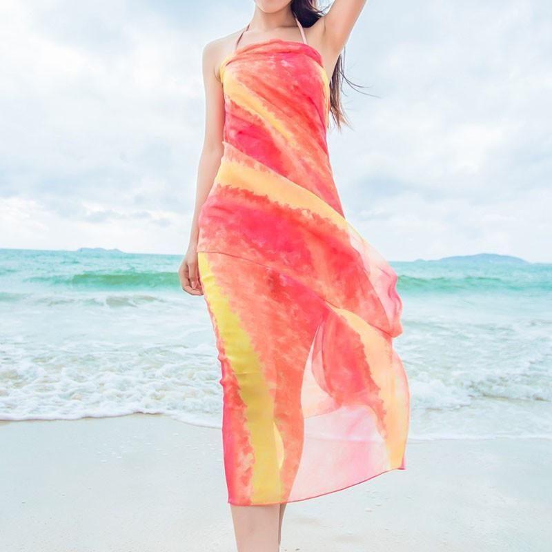 3cc17c1d84 Women's Long Striped Rainbow Print Chiffon Scarves Sarongs Hijab Beach  Swimsuit Cover Up Bikini Scarf DQ02